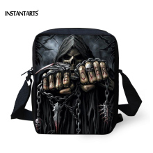 INSTANTARTS Vintage Anime Punk Skull Reaper Printed Women Small Messenger Bags Brand Designer Shoulder Bag Ladies Crossbody Bags
