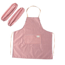 Cloth Striped Anti-fouling Apron and Cuff Housework Restaurant Two-piece Kitchen Loin
