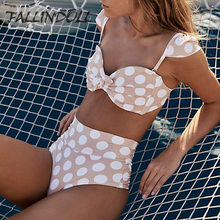 Купить с кэшбэком High Waist Swimsuit 2018 Bikini Push Up Dot Printed Swimwear Women Vintage Biquini Bathing Suit Maillot de Bain Femme