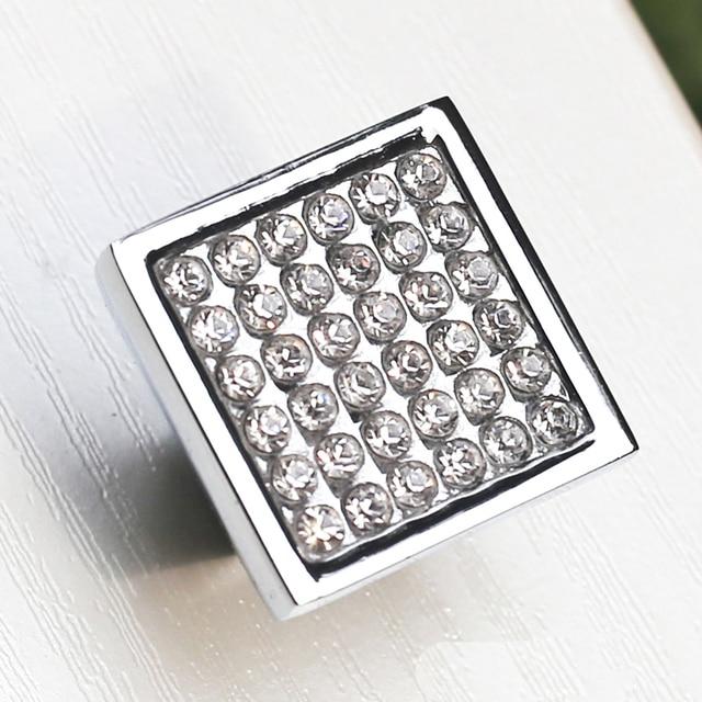 5PCS 25mm Square Clear Crystal Glass Door Knob, Diamond Cabinet Knobs  Kitchen Cupboard Drawer Dresser
