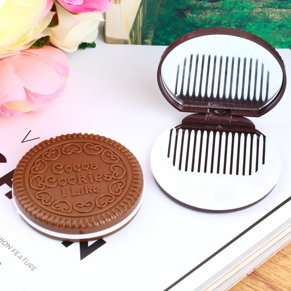 Schminkspiegel Dame Frauen Make-up-tool Taschenspiegel Home Office Einsatz Schwarz Nette Schokolade Plätzchen-shaped Design Kosmetikspiegel Mit Kamm