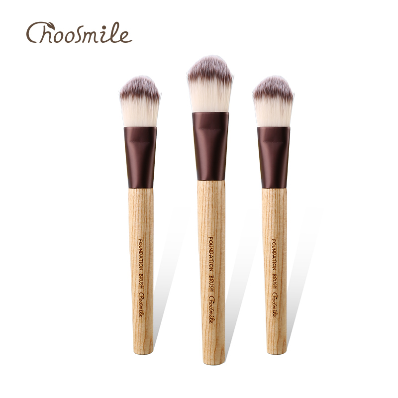Choosmile Liquid Foundation Brush for Face Makeup Beauty Straight Synthetic Duo-Tone Hair Pressed Round Tip Wood Handle Brushes