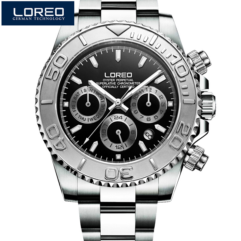 LOREO Men Watches Auto Date Watch Sports Stainless Steel Strongest Luminous Waterproof