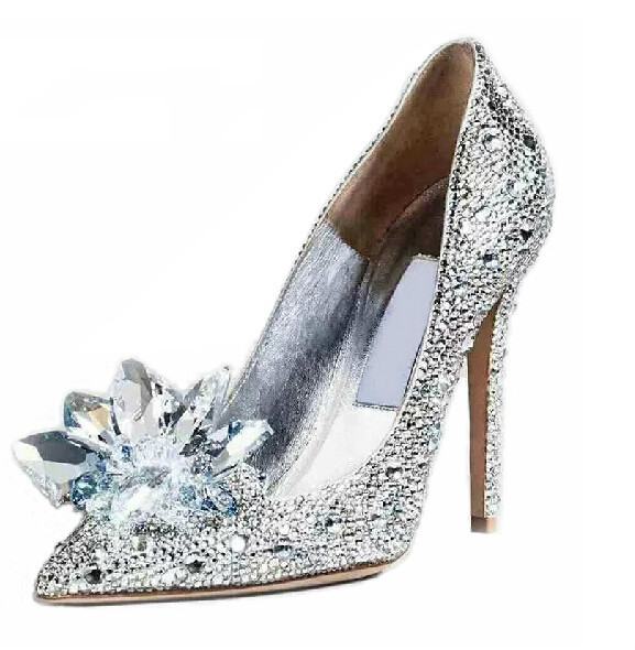 Cinderella Slipper Shallow mouth high heels Bridal shoes Diamond wedding shoes Fine with pointed shoes 14cm sexy fine with nightclub shiny diamond high heels spring and autumn shallow mouth princess wedding shoes