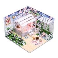 DIY Doll Houses Furniture LED Lights Wooden Flower Dollhouse Miniature Garden Swing House Model For Christmas