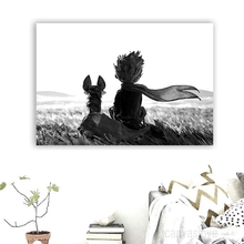 Cartoon Painting 1 Pieces The Little Prince And Fox Picture Wall Art Decor For Children Room Modern Top-Rated Canvas Print Type