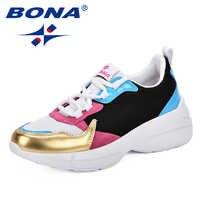 BONA 2019 Fashion Sneakers Women Outdoor Mixed Color Comfortable Mesh Comfy Sneakers Women Chaussure Femme Women Vulcanize Shoes