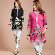 New Women Blouse Spring Autumn Tang Suit Traditional Chinese Top Mandarin Collar cotton Linen Cheongsam Style