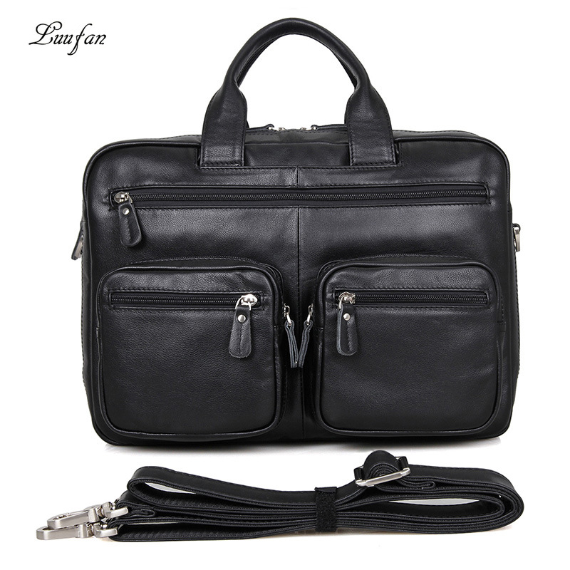 Men Briefcase Business Black Soft Genuine Leather Big Capacity 15 Inch Laptop Handbag Cow Leather Office Shoulder Messenger Bag