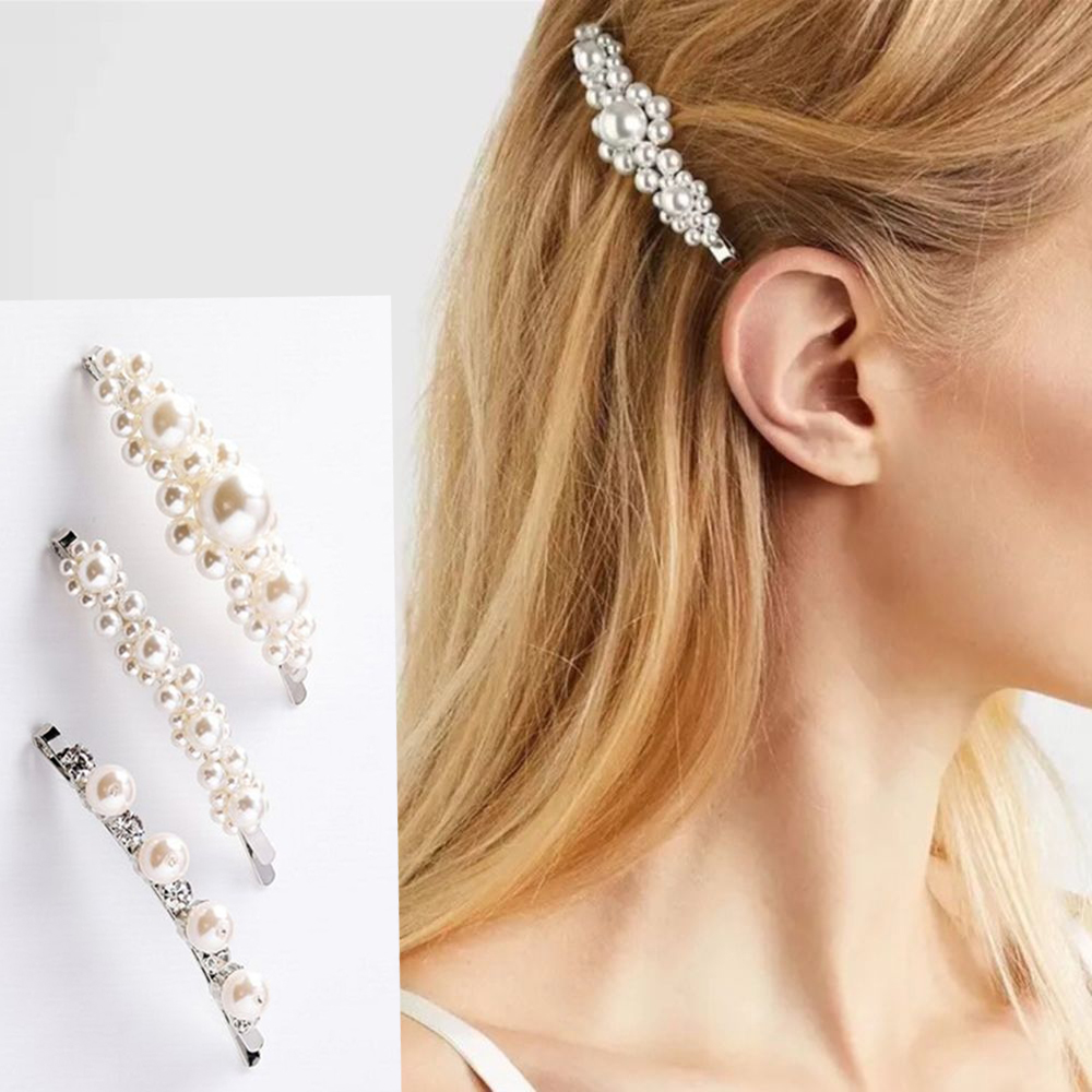 Fashion Women Bowknot Pearl Barrette Hair Clip Stick Hair Bow Hairpin Headwear