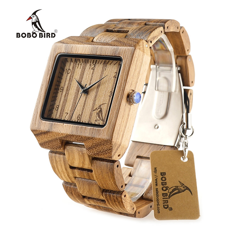 BOBO BIRD L24 Fashion Men Square Zebra Stripe Wooden Watches with BOBO BIRD Pattern on the
