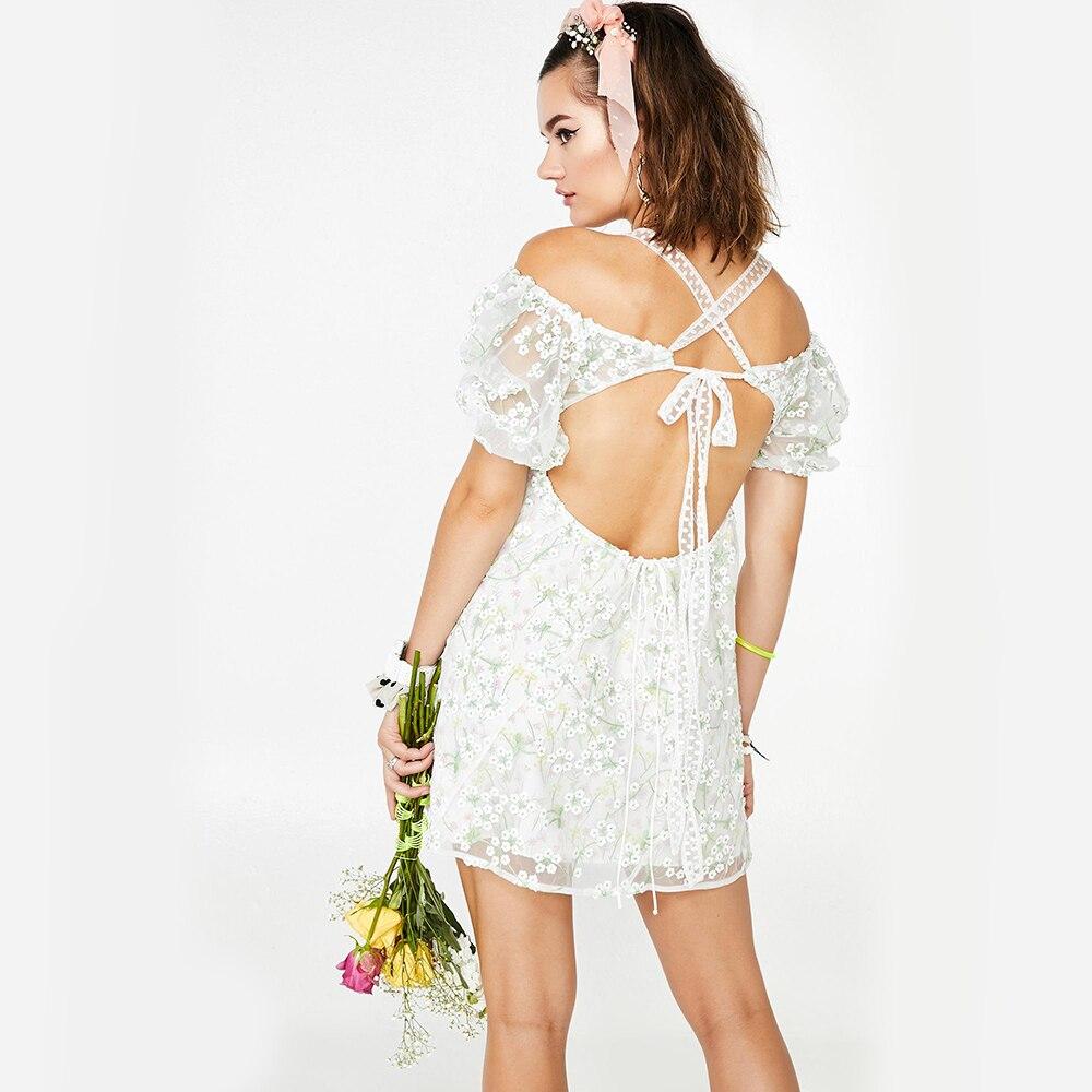 Robe de broderie florale KHALEE YOSE été Mini robe Eclair en mousseline de soie maille transparente devant cravate dos nu Sexy robe d'été femmes robes - 5