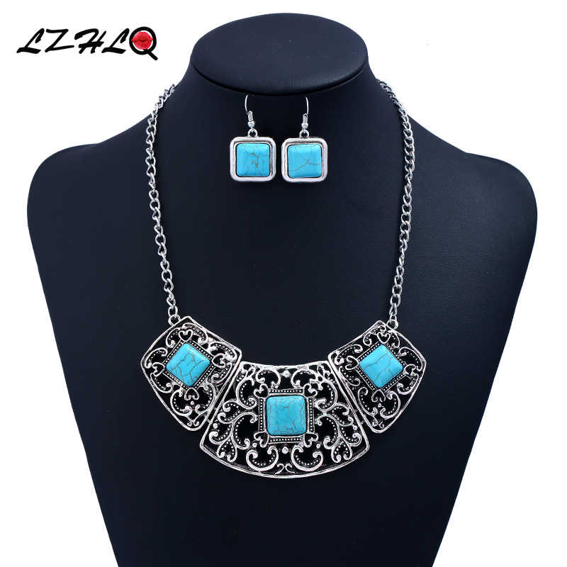 LZHLQ Big Fashion Retro Geometric Alloy Hollow Synthetic Blue Stone Statement Necklace Women Jewelry Factory Direct Wholesale