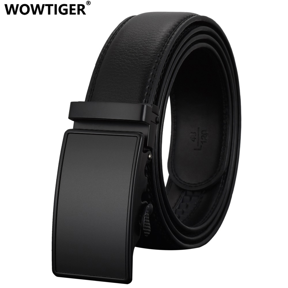 WOWTIGER Fashion black Automatic Buckle cow genuine leather luxury Designer Male   Belts   For men Alloy buckle Men   belt