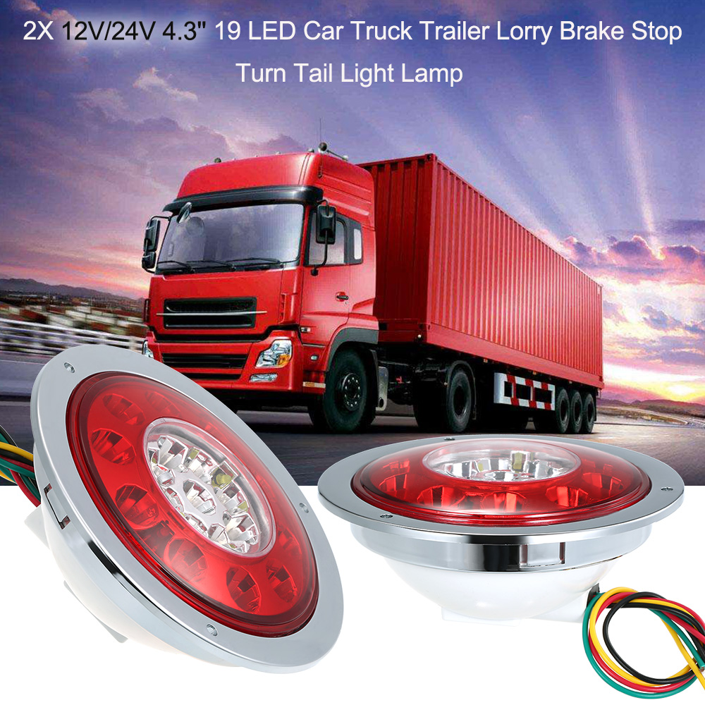 Car Accessories 2X 12V or 24V 4.3'' 19 LED Car Truck Trailer Lorry Brake Stop Turn Tail Light Lamp