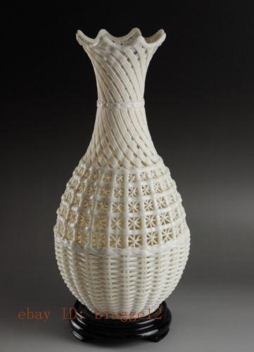Oriental Chinese Vintage Handwork white Porcelain Vase, beautiful!