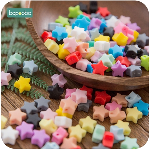 Bopoobo 10pcs Silicone Beads Food Grade Silicone Star Teether Baby Products Silicone Rodent Bracelet Diy Crafts Baby Teether Pakistan