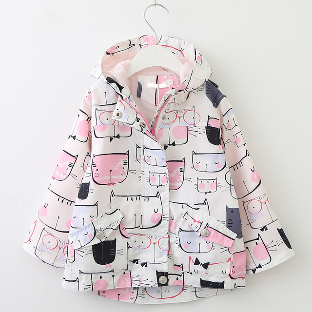 72ffe1b6a0510 Girls Coats For Girls 2018 Spring Hot Sale Pink Cartoon Cat Outerwear  Hooded Jackets Children Kids Teen Clothing 3-7Y