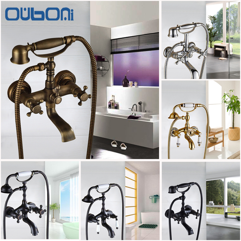 OUBINI Bathroom Basin Sink Faucet Shower Set Faucet With Hand Shower Black Water Mixer Tap Faucets Wall Mounted Telephone Type bakala brass bath black faucets wall mounted bathroom basin mixer tap crane with hand shower head bath