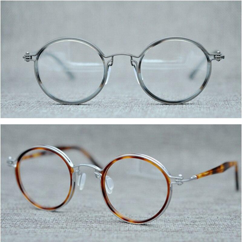 Marque Vintage acétate lunettes cadres homme titane rétro rond lunettes cadre hommes optique lunettes montures pour lunettes pour hommes