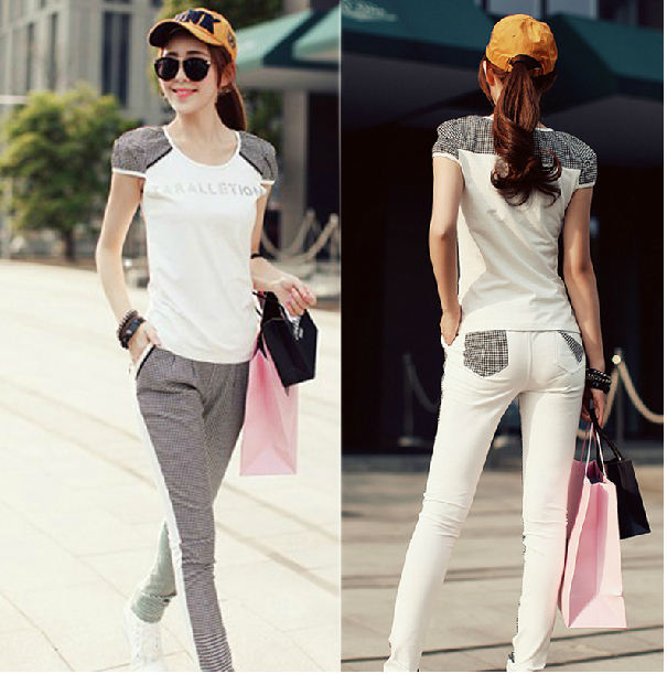 b8db4cb7726 Women Summer Korean Casual Short Sleeve Sports Suit Tracksuit Sportswear  Sweatshirt Sporty Set 2pcs set Tops+Plaid Pants H105