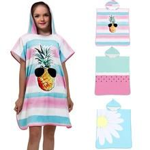 Детский банный халат с капюшоном и 3D цифровой печатью для маленьких мальчиков и девочек, пляжное полотенце из микрофибры kawaii, Дамское пляжное полотенце, сухое полотенце для купания
