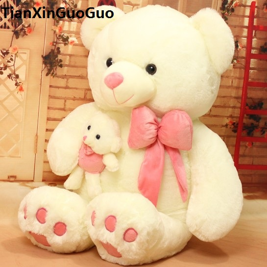 large 70cm pink bowtie teddy bear plush toy ,hug baby bear doll soft throw pillow toy Christmas gift b2900 huge 70cm lovely gaint panda plush toy panda doll softh throw pillow christmas gift w2479