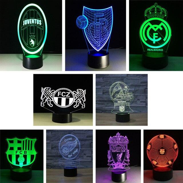 3D LED Lamp Nachtlampje Sport Club Voetbal voetbal Logo RGB ...