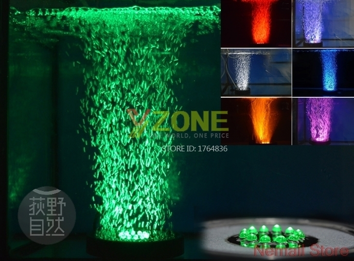 Aquarium 7 Couleur LED Rideau D'air Bubble Pierre Disque Pour Pompe À Air Pour Fish Tank