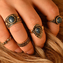 5pcs/Set Boho Vintage Punk Silver Color Stone Midi Finger Rings For Women /Men Bohemian Ring Set Jewelry C793 C794(China)