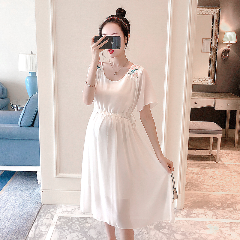 8009# Embroidery Chiffon Maternity Party Long Dress Drawstring Slim Clothes for Pregnant Women Elegant Pregnancy Drop Shipping8009# Embroidery Chiffon Maternity Party Long Dress Drawstring Slim Clothes for Pregnant Women Elegant Pregnancy Drop Shipping