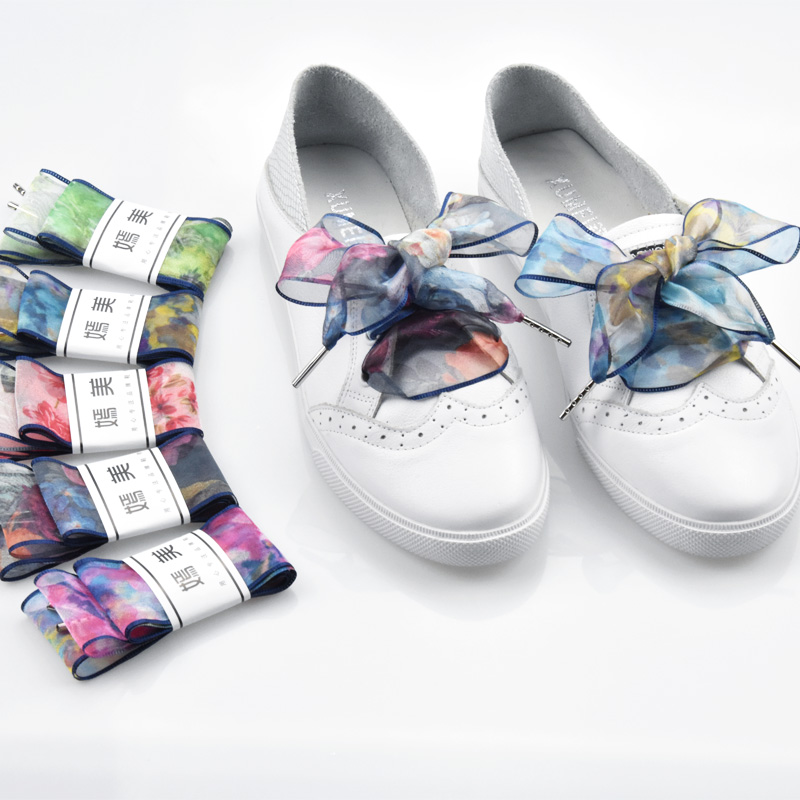 Colorful Printed Chiffon Shoelaces Fashion Graded Ribbon Suitable for All Shoes Holiday Gifts 120cmColorful Printed Chiffon Shoelaces Fashion Graded Ribbon Suitable for All Shoes Holiday Gifts 120cm