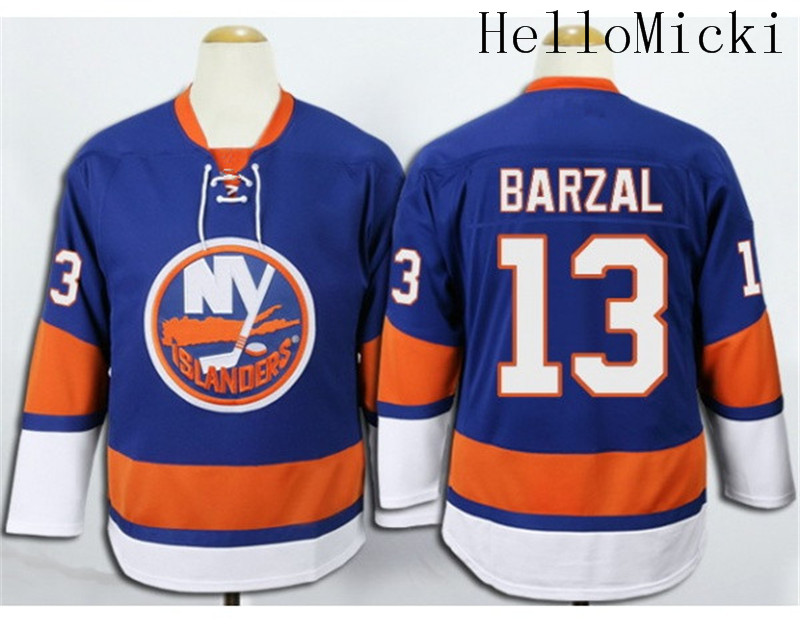info for f9894 1668c Men's Stitched home Light Blue New York Islanders Ice Hockey ...