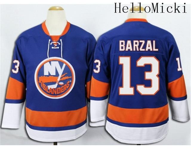 Men s Stitched home Light Blue New York Islanders Ice Hockey Jersey  13  Mathew Barzal Jersey 087c07b16