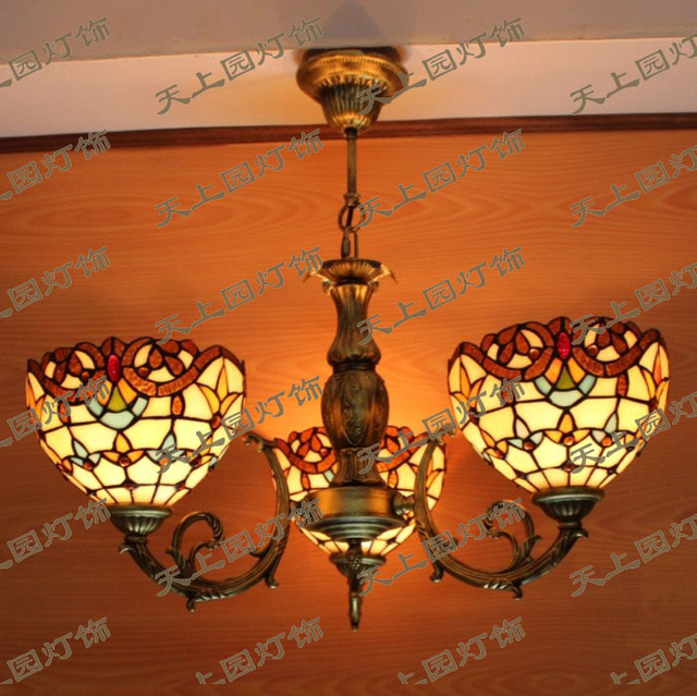Continental Tiffany Chandelier Sets Three Stani Restaurant Bar Lighting Fixtures Led Stair Light Retro Dining Room