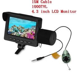 Outlife buscador de peces bajo el agua LED visión nocturna pesca Cámara 15M Cable 1000TVL 4,3 pulgadas LCD Monitor pesca Video cámara Kit