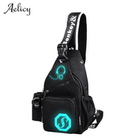 Aelicy Fashion Oxford Cartoon Luminous Chest Bags Men Daily Life Chest Bag For Men 2017 Travel Crossbody Bag Male Sling bag 0921