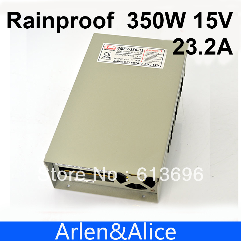 350W 15V 23.2A Rainproof outdoor Single Output Switching power supply smps AC TO DC for LED meanwell 12v 350w ul certificated nes series switching power supply 85 264v ac to 12v dc