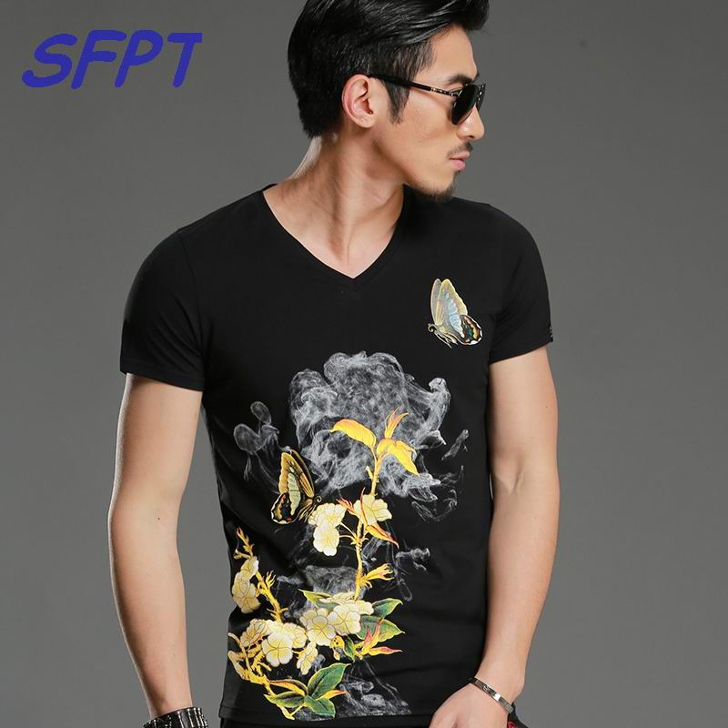 2017 Summer Mens Casual T Shirts V-neck Black Flower Butterfly Print Brand Man's Short Sleeve Slim T-Shirts Male Tops Tee