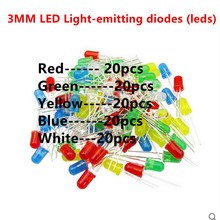 5valuesX20pcs=100pcs F3 3MM Round LED Assortment Kit Ultra Bright Water Clear Green/Yellow/Blue/White/Red Light Emitting Diode