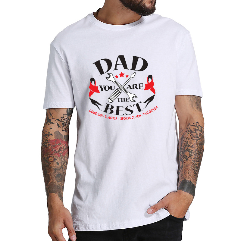 EU Size 100% Cotton T Shirt Comedian Teacher Sports Coach Best Father Homme Gift For Father's Day Tees Short Sleeve Casual Shirt image