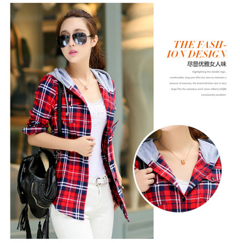 Plaid Hooded Shirt Flannel Shirt Long Sleeve Women Blouses Shirt Cotton Blusas British style