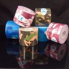 Армия камуфляж кинезиологии ленты 5 см * 5 м kinesio ленты cottone эластичный клей мышечные деформации травмы физической терапии ленты