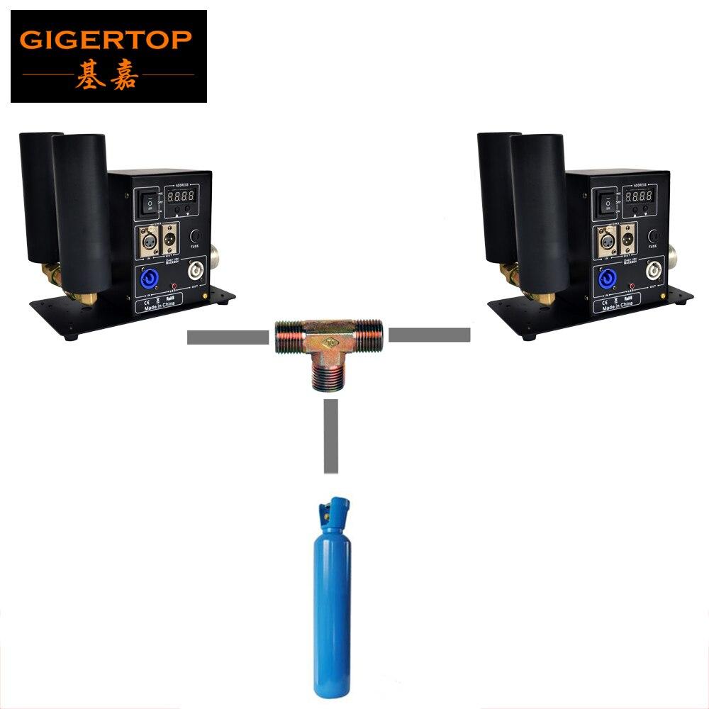 Gigertop 2 pack Double LCD Co2 Jet Machine 2x3 m tuyau De Gaz/1x6 m Gaz tuyau T Laiton Connecteur avec Argent Couleur Rapide Connecteur CE ROHS