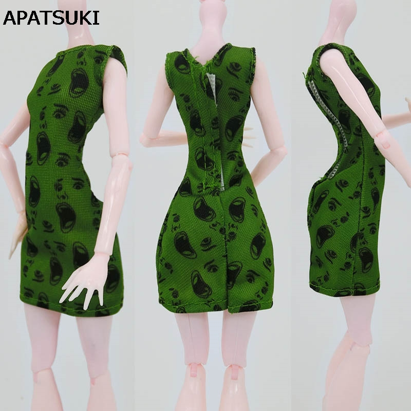 Green One Piece Dress Clothes For Monster High Dolls Party Summer Short Dresses Vestidos Dresses For Monster Doll