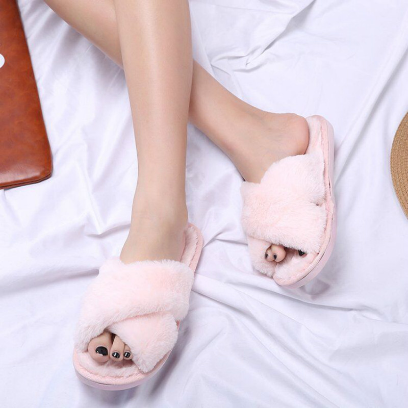 Women Home Slippers with Faux Fur Fashion Warm Shoes Woman Slip on Flats  Female Slides Black. sku  32860093094 7b5550c9a080