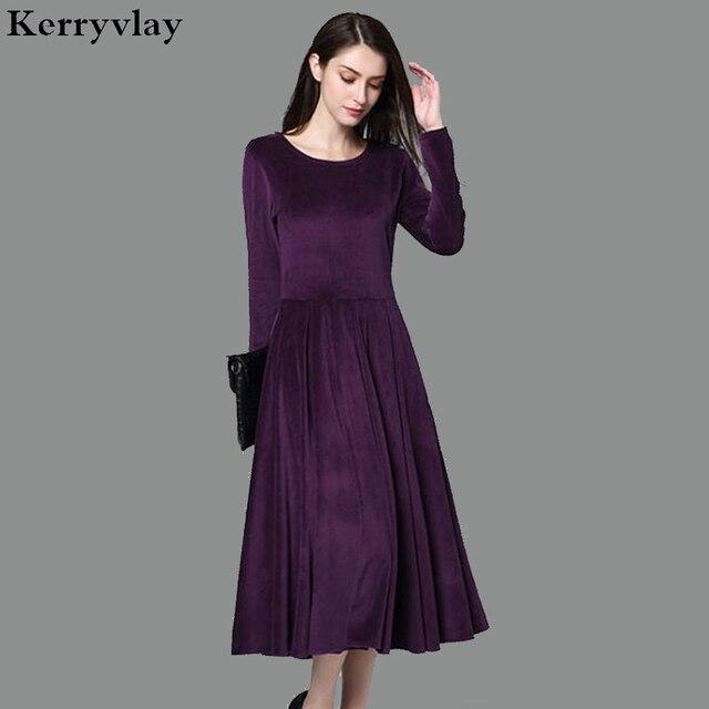 5c5f3a0b1bb 4XL Plus Size Purple Velvet Winter Dress Robe Femme Hiver 2018 Big Size  Long Sleeve Women Dresses Kadife Elbise Jurken D17965