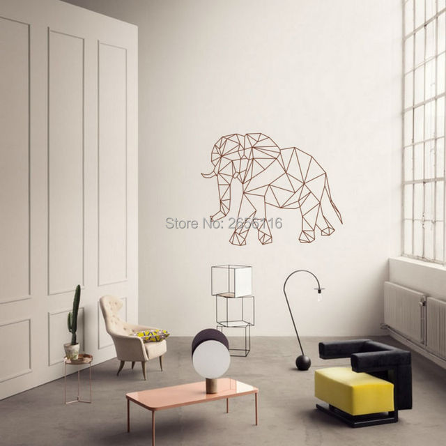 Geometric Elephant Home Decors D Effect Graphic Art Mural - 3d effect wall decals