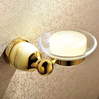 Luxury Glass & Brass & Jade Gold Bathroom Accessories Soap Dishes / golden Soap Holder/Soap Case home decoration