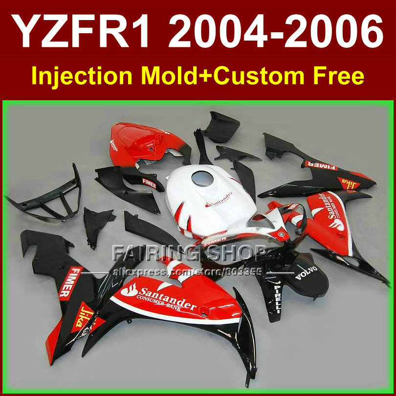 Custom paint Injection molding fairings kit for YAMAHA R1 2004 2005 2006 YZFR1 04-06 YZF 1000 santander motorcycle fairing kits hot sales for yamaha r1 fairings yzfr1 2007 2008 yzf r1 yzf r1 yzf1000 r1 07 08 red black abs fairings injection molding